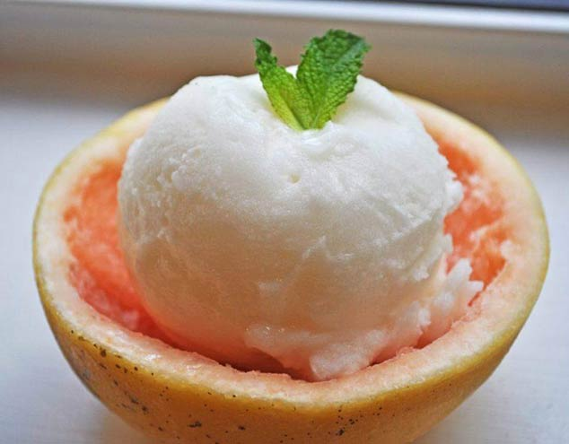 homemade Grapefruit sorbet ice cream