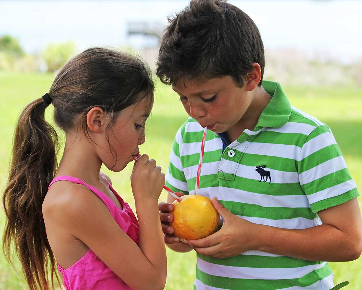 two children enjoy fresh grapefruit juice straight from the fruit with striped straws.